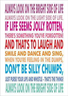 Always Look On The Bright Side Of Life - Lyrics Monty Python - A4 ...