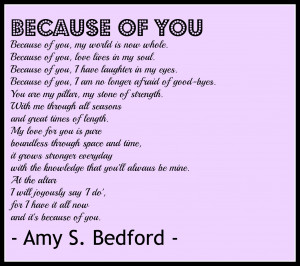 Because of You Poem for your wedding ceremony