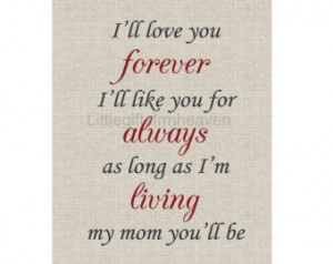 ... quote mother, mother's love print, mother daughter art, gift from kid