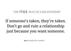 Rules of a relationship- Don't be a home wrecker More