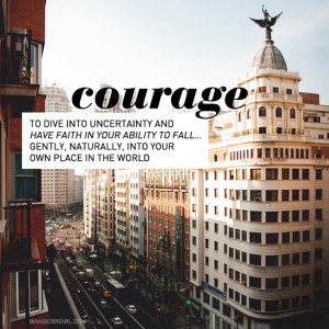 courage, madrid, spain, skyline, typography, inspirational quote ...