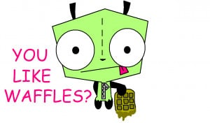 GIR and his waffles by Karrotcakes