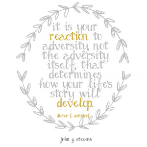 It is your # reaction to # adversity, not the adversity itself, that ...