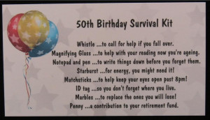 Details about 50th Birthday Survival Kit - JOKE / Novelty Gift