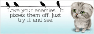 Love your enemies- it gets them really confused.