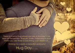 Cute Couple Hug Day Quotes Wallpaper