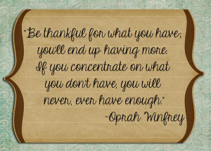 "Gratitude Quote 13: ""Be thankful for what you have you'll end up ..."