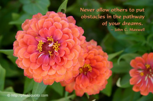 Never allow others to put obstacles in the pathway of your dreams.