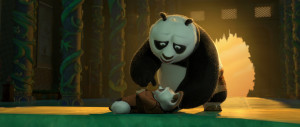 Weakened Shifu being told by Po that Tai Lung has been defeated