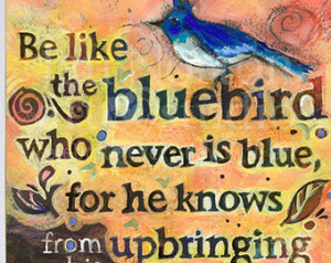 Singing Bluebird Painted Cole Porte r Quote, Hand Lettered, Yellow Art ...
