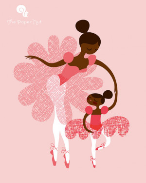 ballerina mother and daughter / sisters. african american/ethnic. pink ...
