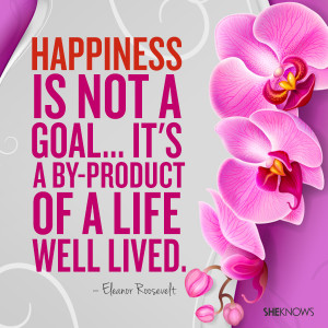 Hapiness is not a goal... it's a by-product of a life well lived