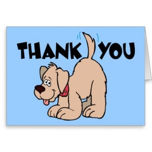 Funny Thank You Cards Sayings Thank you ~ dog wagging tail