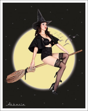 Witch on her broom