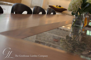 Walnut Wood Countertop custom beveled to Granite Countertop