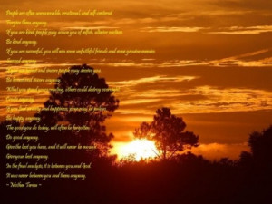 Mother Teresa Prayer Wallpaper - Beautiful Sunset Wallpaper with quote ...