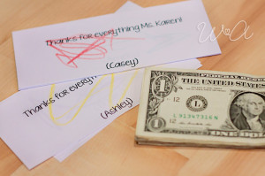 To start, I cut a bunch of paper into slips the size of a dollar bill ...