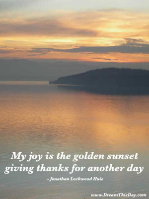 My joy is the golden sunset