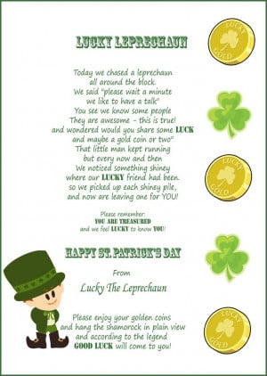 St. Patrick's Day Quotes And Poems. ST PATRICKS DAY LUCKY LEPRECHAUN