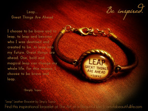 leap great things are ahead inspirational leather bracelet