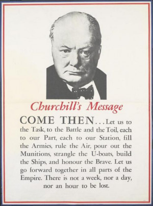 British WWII propaganda poster featuring (the great) Winston Churchill ...