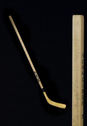 Hockey stick signed by the 1980 Olympic Hockey team