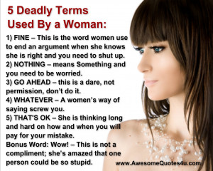 Deadly Terms Used By a Woman