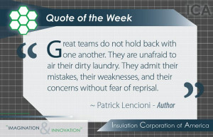 Quote of the Week ~ #Inspiration ~ #Teamwork ~ Patrick Lencioni