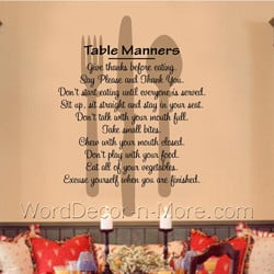 Table Manners, Kitchen/ Dining Room Wall Words | Removable Wall ...