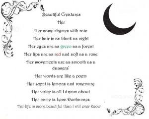 Beautiful Creatures Lena Quotes Beautiful creatures lena poem