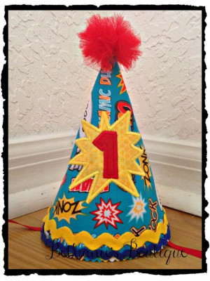 Super Boy Super Hero Birthday Hat Super hero by TooTuTuCute, $22.00