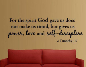 ... Discipline 2 Timothy 1:7 Bible Verse Inspirational Wall Quote