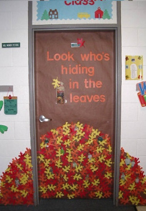 Fall into Learning Door Decoration | Look who's hiding in the leaves ...