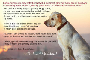 Dog quote. A dog's last will & testament.