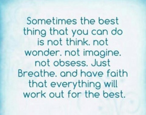 Challenging for an over thinker like me...