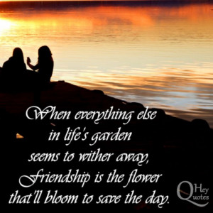 Friendship quote about friends being flowers in life's garden