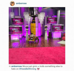 The photo appears to be a talk show set. As you can see, her name is ...
