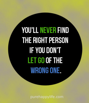 Love Quote: you'll never find the right person if you don't..