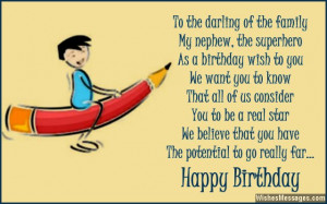 Birthday greeting poem to nephew from aunt or auncle