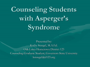 Counseling Students with Asperger's Syndrome by january