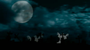 Spooky Halloween Graveyard With Dark Clouds And Ominous Moon Stock
