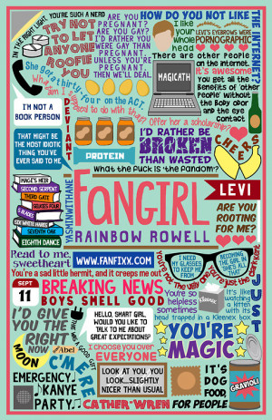 Book Collage based on Fangirl by Rainbow Rowell.Perhaps a bit too ...