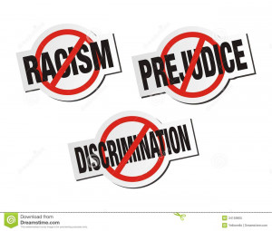 ... Photo: Anti racism, anti prejudice, anti discrimination sticker sign