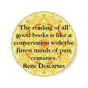 Rene Descartes Literature Quote Round Sticker