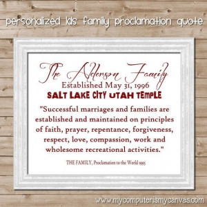 Personalized LDS Family Proclamation Quote with sealing or established ...