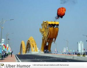 This bridge in Vietnam has a dragon that breathes fire