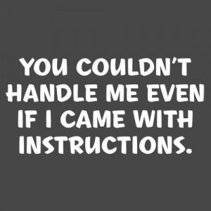 You couldn't handle me even if I came with instructions! True for ...