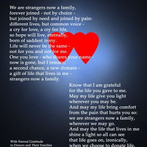 Life. Written from the perspective of an organ or tissue recipient ...