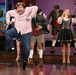 Jumping for joy: Jack Black certainly did not appear disappointed the ...