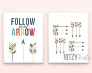 Arrow Art Print Set - Follow Your Arrow Quote Typography Country Music ...